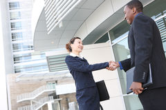 Diverse Business Man and Woman Handshake Royalty Free Stock Images