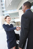 Diverse Business Man and Woman Handshake Royalty Free Stock Photo