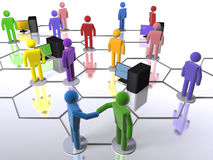 Diverse business network with computers Stock Photo