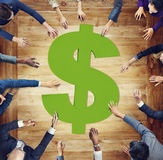 Diverse Business People Around Currency Symbol Royalty Free Stock Images