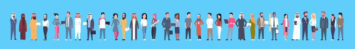 Diverse Business People Businessmen And Businesswomen, Mix Race Businesspeople Horizontal Banner. Flat Vector Illustration Stock Photo