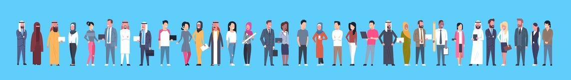 Diverse Business People Businessmen And Businesswomen, Mix Race Businesspeople Horizontal Banner. Flat Vector Illustration stock illustration