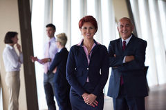 Diverse business people group with redhair  woman in front Stock Photography