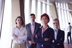 Diverse business people group with redhair  woman in front Stock Images