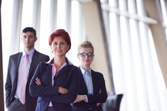 Diverse business people group with redhair  woman in front Royalty Free Stock Photos