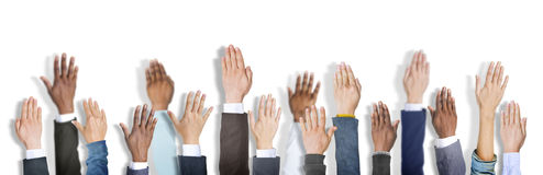 Diverse Business People Hands Raised Stock Image