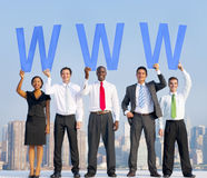Diverse Business People Holding the Letters WWW Stock Photos