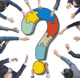 Diverse Business People with Question Marks Stock Images
