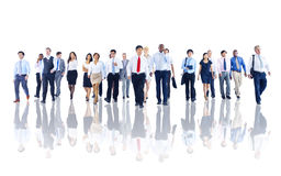 Diverse Business People Working and Walking Stock Photography