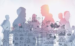 Diverse business team, business strategy sketch. Silhouettes of business people working together and communicating over white background with double exposure of stock photography