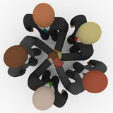 Diverse Business Team - Huddle Cheer. A diverse business team of people in suits huddles for a cheer vector illustration