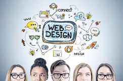 Diverse business team members heads, web design Stock Images