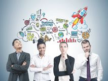 Diverse business team members, start up strategy Royalty Free Illustration