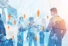 Business people silhouettes global network concept vector illustration