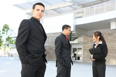 Diverse Business Team at Office Building. An attractive, diverse business team at office building Stock Photo