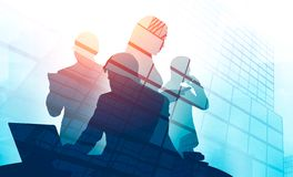 Diverse business team silhouettes, skyscrapers royalty free stock image