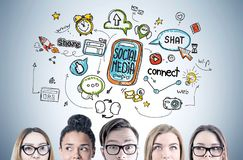 Diverse business team, social media Stock Photo