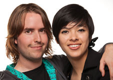 Diverse Caucasian Male and Multiethnic Female Stock Photo