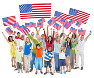 Diverse Cheerful People Celebrating Independence Day.  Royalty Free Stock Image