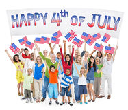 Diverse Cheerful People Celebrating Independence Day.  Stock Images