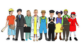 Diverse Children with Various Occupations Concepts Stock Images