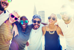 Diverse City Buildings Summer Friends Fun Concept Stock Photography