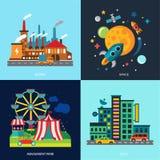 Diverse cityscapes gekleurde huizen, pretpark Stock Foto's