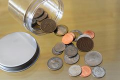 Diverse coins from different places. stock image