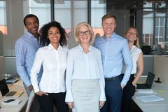 Diverse colleagues led by company chief posing for camera royalty free stock photos