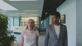 Diverse colleagues walking in office and talking. Young woman with black man walking in modern office hall and looking. Young woman with black man walking in stock video