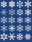 Diverse collection de flocons de neige de formes Photographie stock