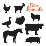 Diverse collection of farm animals, black contour. Black contours drenched farm animals, goose cow horse pig and goat kurischtsa turkey, vector animals  on white Stock Photos