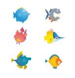 Diverse collection mignonne de poissons Image stock