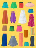A diverse collection of skirts Stock Images