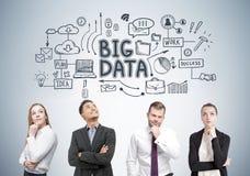 Diverse commerciële teamleden, grote gegevens stock afbeelding