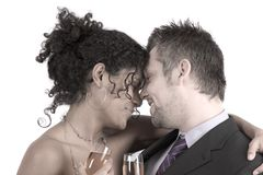 Diverse couple heads close together Royalty Free Stock Photography