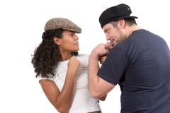 Diverse couple; Mock fight Royalty Free Stock Photos