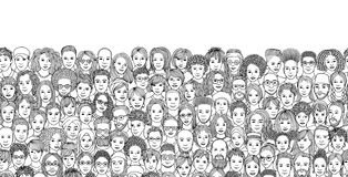 Free Diverse Crowd Of People, Black And White Ink Illustration Royalty Free Stock Images - 136652949