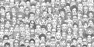 Diverse crowd of people in black and white vector illustration