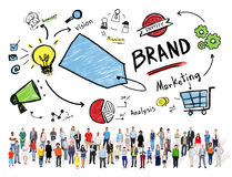 Diverse Crowd People Marketing Brand Concept.  Royalty Free Stock Photos