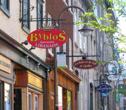 The Diverse Cuisine of Quebec City, Canada, along Rue Saint-Jean Royalty Free Stock Photos