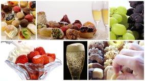 Diverse dessertscollage stock footage