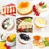 Diverse dessertscollage Stock Afbeeldingen