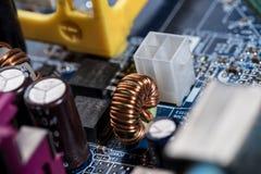 Diverse details van computermotherboard Stock Fotografie