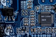 Diverse details van computermotherboard Stock Foto's