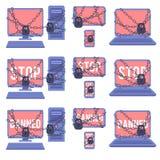 Diverse die apparaten voor onwettige acties betreffende de reeks van het Webnetwerk worden verboden Stock Foto