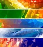 Diverse die bannervector met driehoekspatroon wordt geplaatst Stock Foto