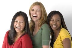 Diverse die groep vrouwen op wit worden geïsoleerd royalty-vrije stock fotografie