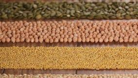 Diverse die zaden en korrels in kleurrijke horizontale strepen worden geschikt stock video