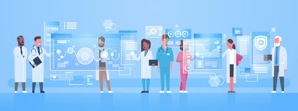 Diverse Doctors Group Use Virtual Computer Screen With Digital Buttons Innovation Technology Concept Modern Medical. Treatment Flat Vector Illustration Royalty Free Stock Photo